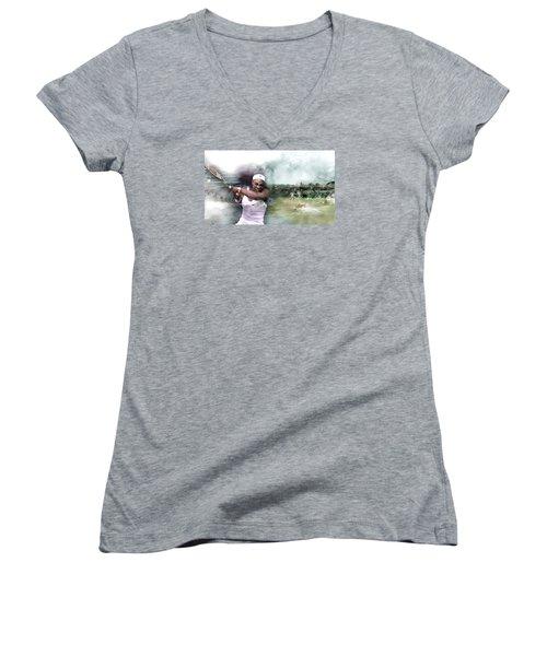 Sports 18 Women's V-Neck T-Shirt (Junior Cut) by Jani Heinonen