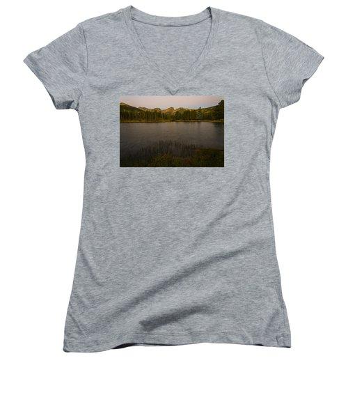 Sprague Lake Women's V-Neck T-Shirt (Junior Cut) by Gary Lengyel