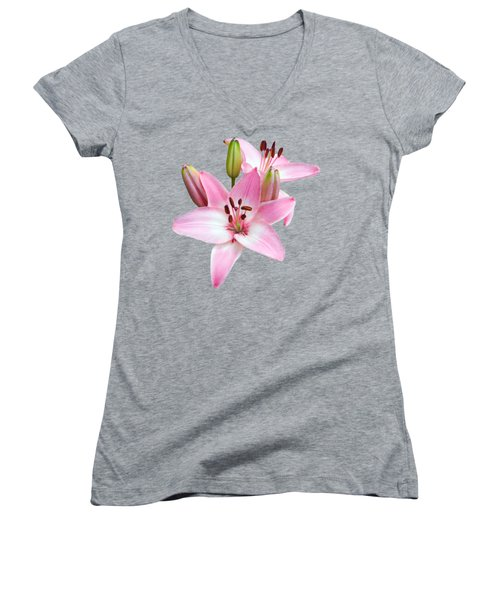 Spray Of Pink Lilies Women's V-Neck (Athletic Fit)
