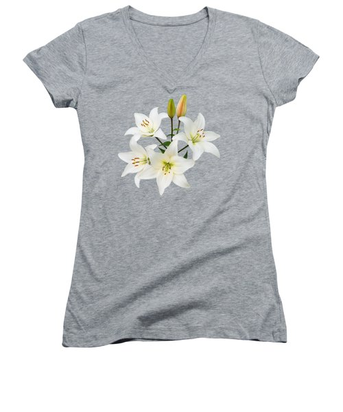 Spray Of White Lilies Women's V-Neck T-Shirt (Junior Cut) by Jane McIlroy