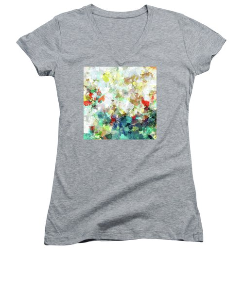 Women's V-Neck T-Shirt (Junior Cut) featuring the painting Spring Abstract Art / Vivid Colors by Ayse Deniz