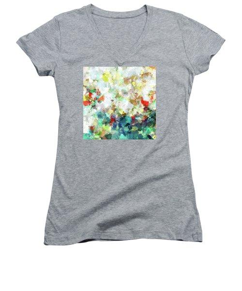 Spring Abstract Art / Vivid Colors Women's V-Neck T-Shirt (Junior Cut) by Ayse Deniz