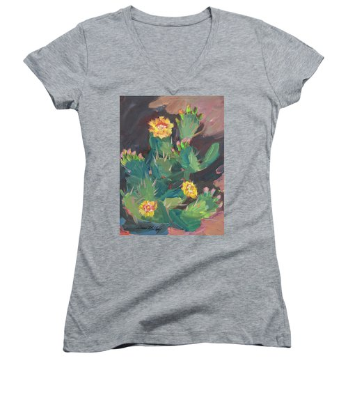 Women's V-Neck T-Shirt (Junior Cut) featuring the painting Spring And Prickly Burst Cactus by Diane McClary