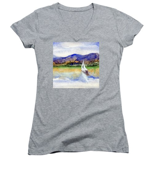 Spring At Our Island Women's V-Neck T-Shirt (Junior Cut) by Randy Sprout