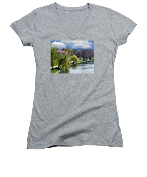 Spring At The Lake Women's V-Neck T-Shirt (Junior Cut) by Judi Saunders