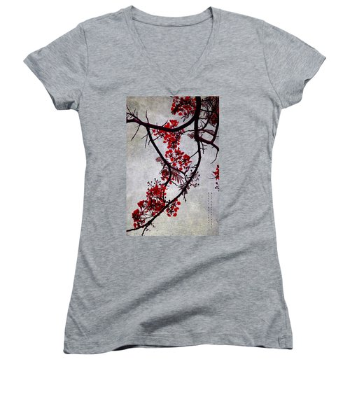Spring Bloosom In Maldives. Flamboyant Tree II. Japanese Style Women's V-Neck