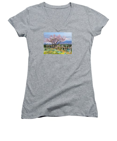 Spring Blossom Pallet Knife Painting Women's V-Neck T-Shirt (Junior Cut) by Lisa Boyd
