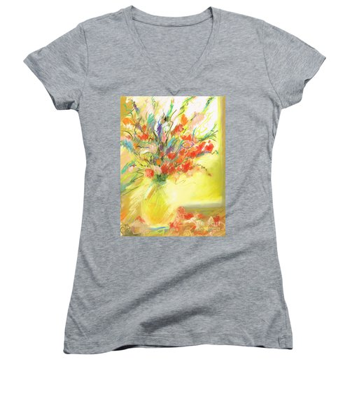 Spring Bouquet Women's V-Neck T-Shirt (Junior Cut) by Frances Marino