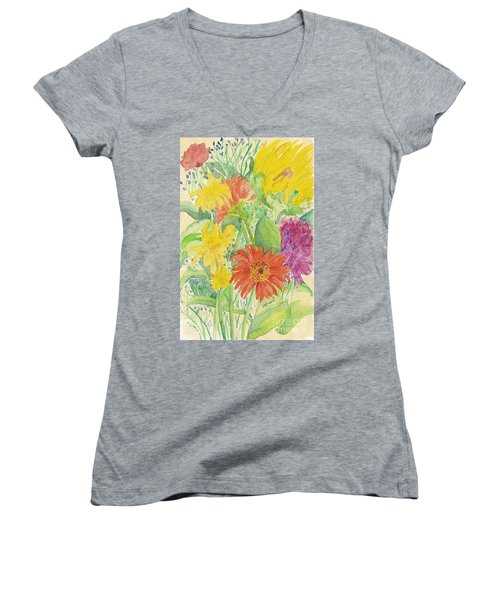Women's V-Neck T-Shirt (Junior Cut) featuring the painting Spring Bouquet  by Vicki  Housel