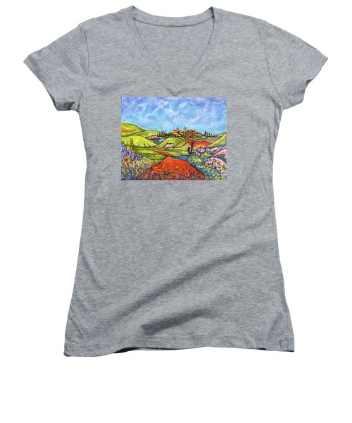 Women's V-Neck T-Shirt (Junior Cut) featuring the painting Spring Breeze by Rae Chichilnitsky