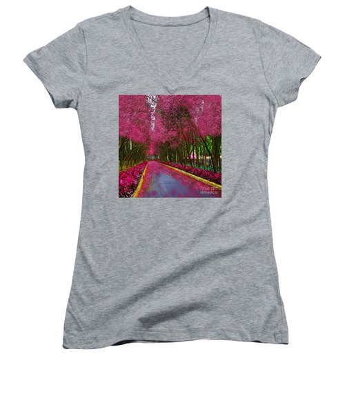 Spring Cherry Blossoms Women's V-Neck T-Shirt (Junior Cut) by Saundra Myles