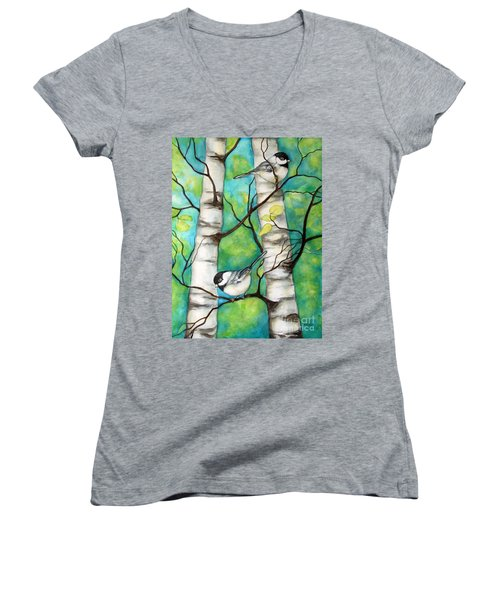 Spring Chickadees Women's V-Neck T-Shirt (Junior Cut) by Inese Poga
