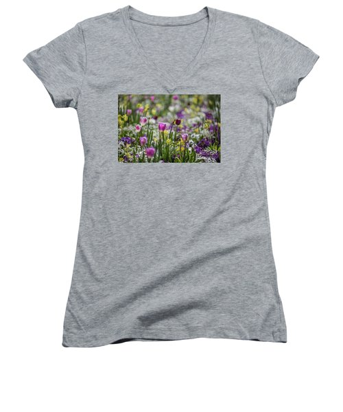 Spring Colors Women's V-Neck T-Shirt (Junior Cut) by Eva Lechner