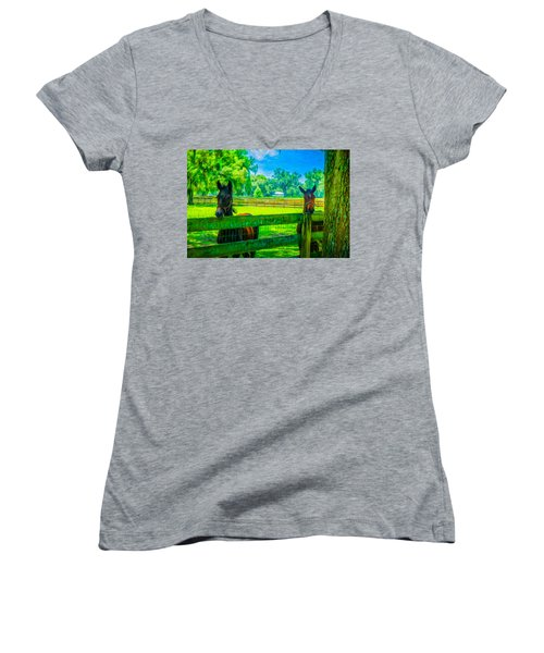 Women's V-Neck T-Shirt (Junior Cut) featuring the painting Spring Colts by Louis Ferreira