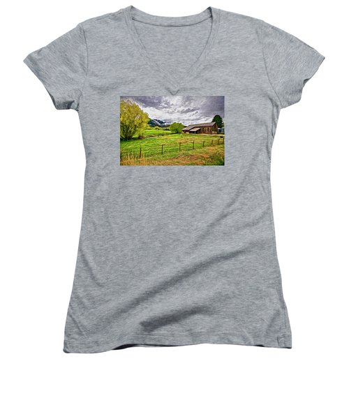 Women's V-Neck T-Shirt (Junior Cut) featuring the digital art Spring Coming To Life by James Steele