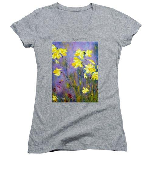 Spring Daffodils Women's V-Neck T-Shirt