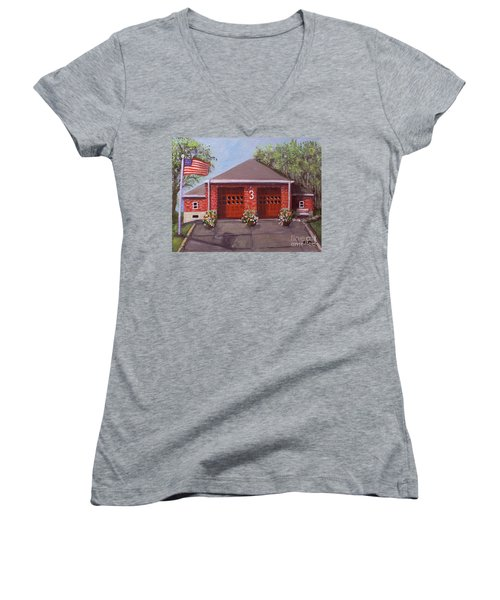 Spring Day At Willow Fire House Women's V-Neck T-Shirt