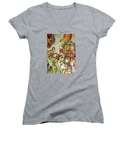 Spring Day Women's V-Neck T-Shirt (Junior Cut) by Claudia Cole Meek