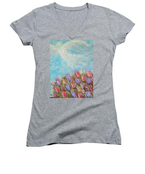 Spring Emerging Women's V-Neck T-Shirt (Junior Cut) by Lyric Lucas