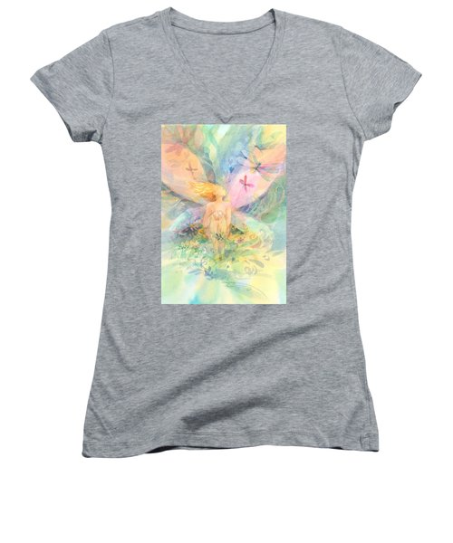 Women's V-Neck featuring the painting Spring Fairy by Carolyn Utigard Thomas