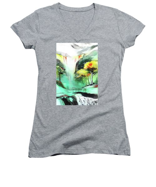 Women's V-Neck T-Shirt (Junior Cut) featuring the painting Spring Fall by Anil Nene