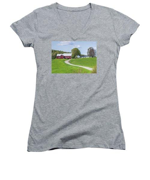 Spring Farm Women's V-Neck T-Shirt (Junior Cut) by Tim Kirchoff