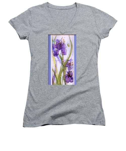 Women's V-Neck T-Shirt (Junior Cut) featuring the painting Spring Fling by P J Lewis