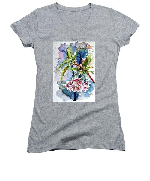 Women's V-Neck T-Shirt (Junior Cut) featuring the painting Spring Flower by Kovacs Anna Brigitta