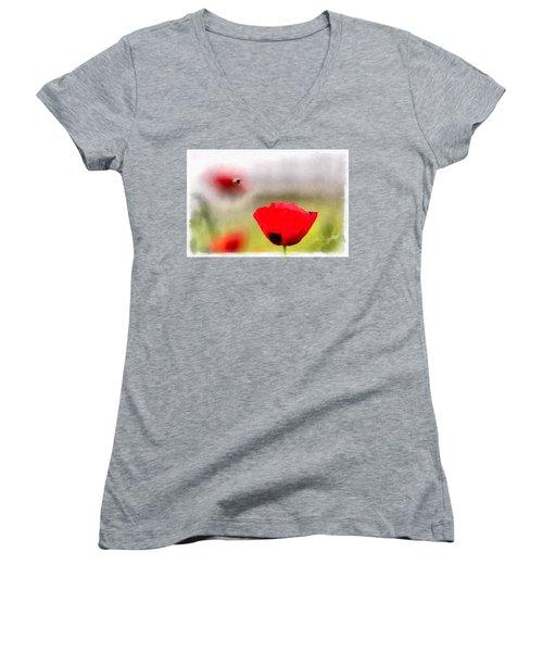 Spring Flowering Poppies Women's V-Neck