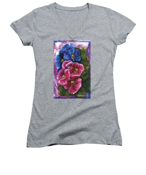 Spring Flowers Women's V-Neck (Athletic Fit)