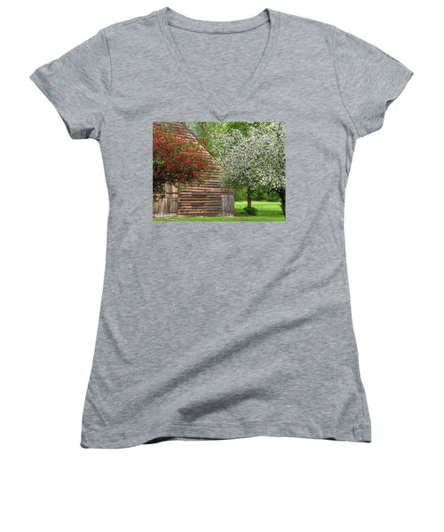 Spring Flowers And The Barn Women's V-Neck