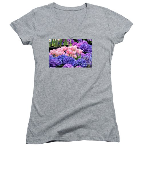 Spring Flowers Women's V-Neck T-Shirt (Junior Cut) by Darleen Stry