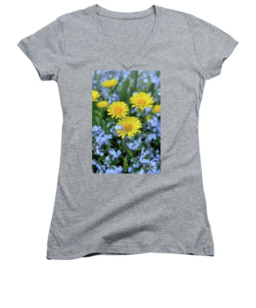 Women's V-Neck T-Shirt (Junior Cut) featuring the photograph Spring Flowers Forget Me Nots And Leopard's Bane by Henry Kowalski