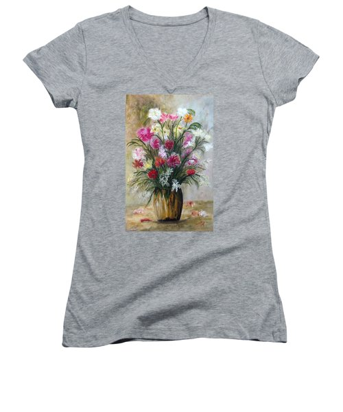 Women's V-Neck T-Shirt (Junior Cut) featuring the painting Spring Flowers by Renate Voigt