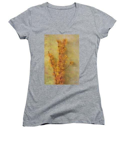 Spring Forsythia Women's V-Neck T-Shirt (Junior Cut) by Catherine Alfidi