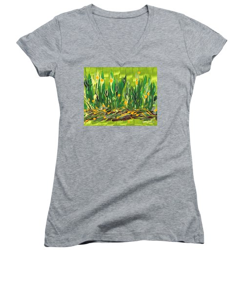 Women's V-Neck T-Shirt (Junior Cut) featuring the painting Spring Garden by Holly Carmichael
