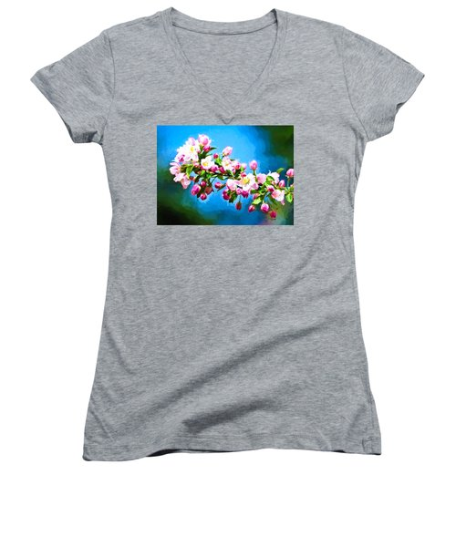 Spring Impressions Women's V-Neck T-Shirt (Junior Cut) by Greg Norrell