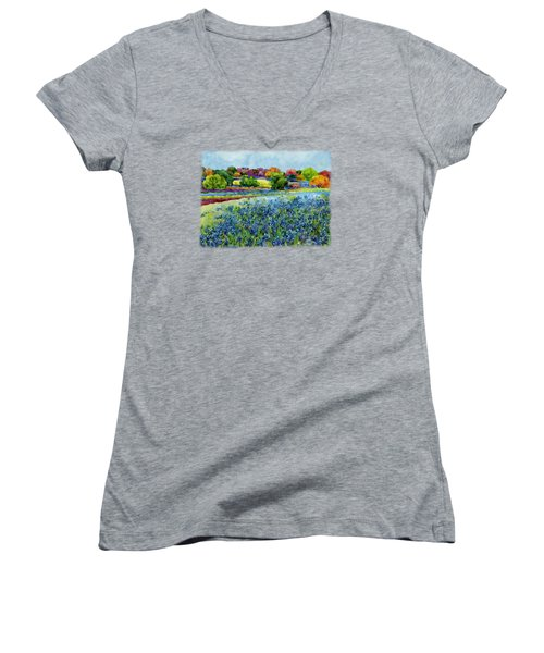 Women's V-Neck T-Shirt (Junior Cut) featuring the painting Spring Impressions by Hailey E Herrera