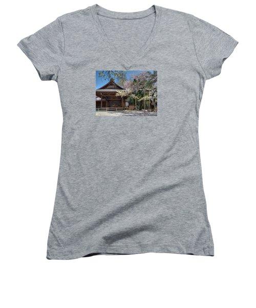 Spring In Edo Women's V-Neck T-Shirt (Junior Cut) by Alan Toepfer