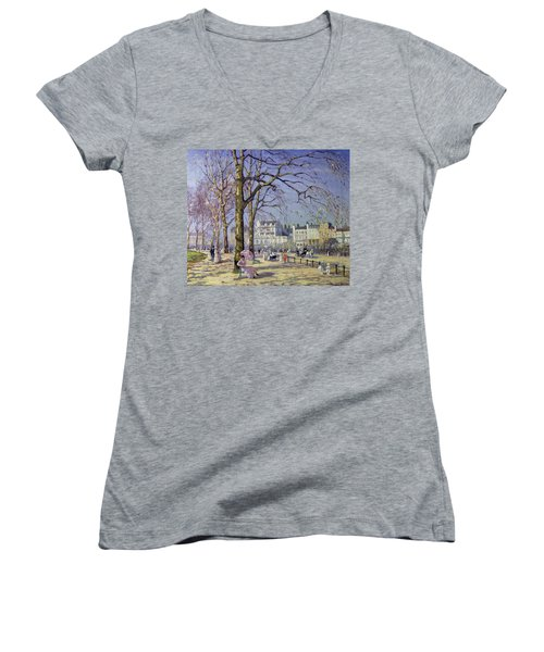 Spring In Hyde Park Women's V-Neck T-Shirt (Junior Cut) by Alice Taite Fanner