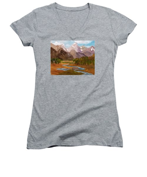 Spring In The Tetons Women's V-Neck (Athletic Fit)
