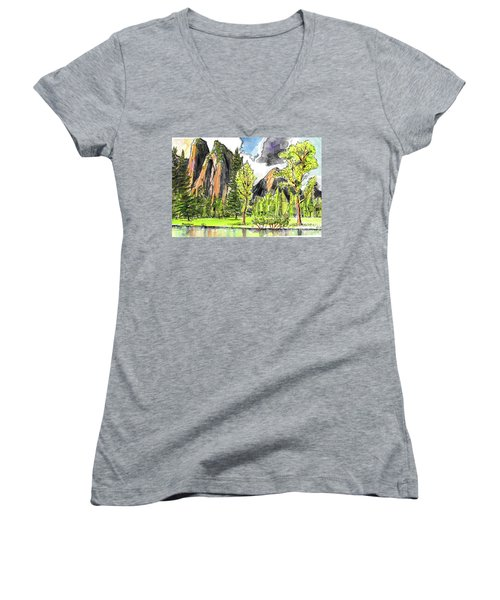 Women's V-Neck T-Shirt (Junior Cut) featuring the painting Spring In Yosemite by Terry Banderas