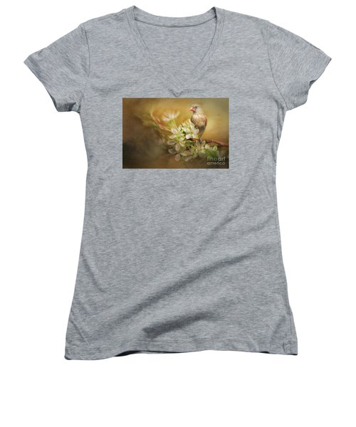 Spring Is In The Air Women's V-Neck T-Shirt (Junior Cut) by Linda Blair