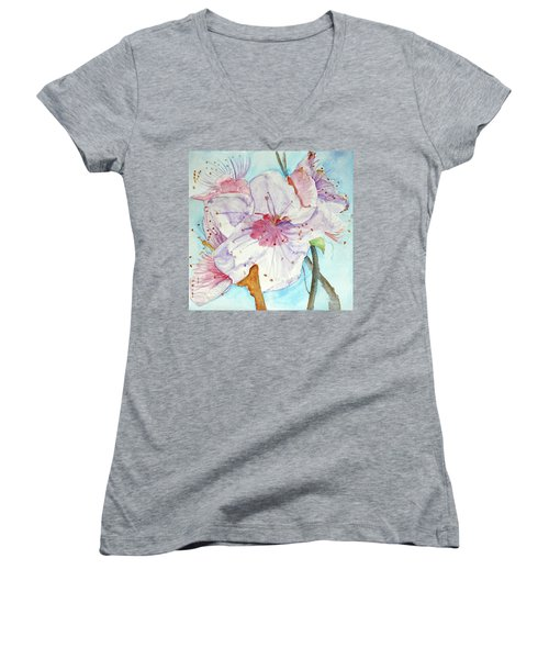 Women's V-Neck T-Shirt (Junior Cut) featuring the painting Spring by Jasna Dragun