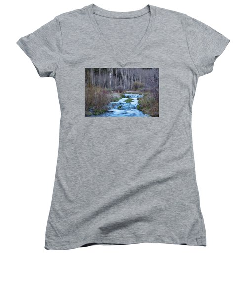 Spring Melt Off Flowing Down From Bonanza Women's V-Neck T-Shirt (Junior Cut) by James BO Insogna
