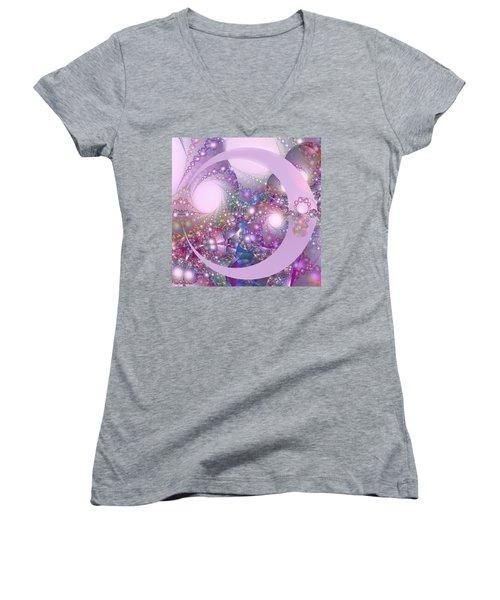 Spring Moon Bubble Fractal Women's V-Neck T-Shirt