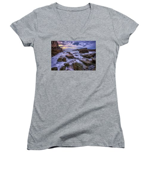Spring Morn At Bald Head Cliff Women's V-Neck T-Shirt (Junior Cut) by Rick Berk
