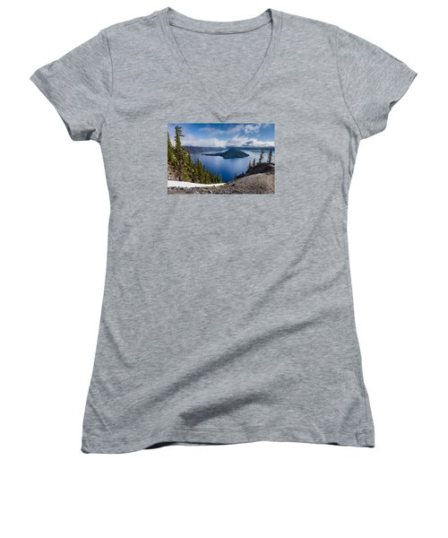 Spring Morning At Discovery Point Women's V-Neck T-Shirt (Junior Cut) by Greg Nyquist
