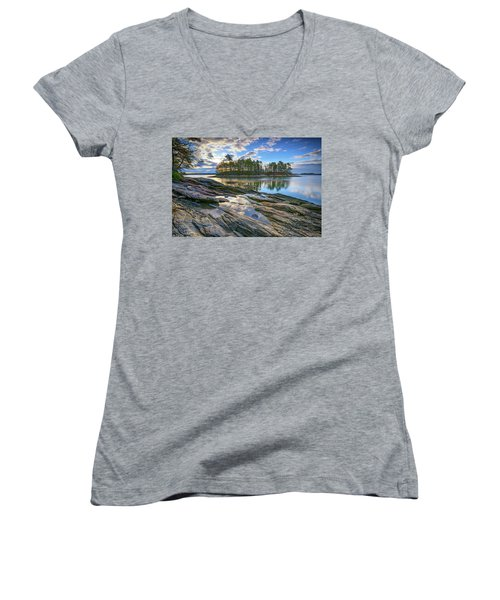 Women's V-Neck T-Shirt (Junior Cut) featuring the photograph Spring Morning At Wolfe's Neck Woods by Rick Berk