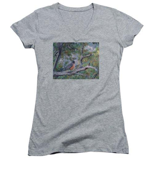 Spring Morning Robin Da Women's V-Neck T-Shirt